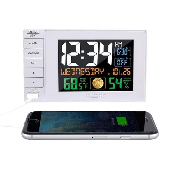 La Crosse Technology C87061 White USB Charging Dual Alarm Clock