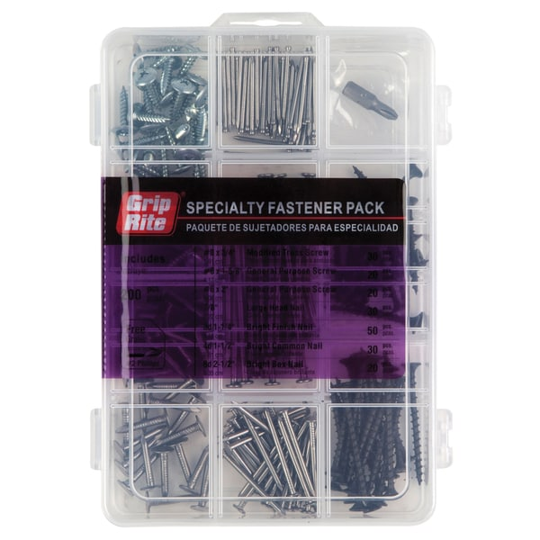 Grip Rite MPCOMBO Specialty Fastener Pack Assorted Sizes, 200 pc