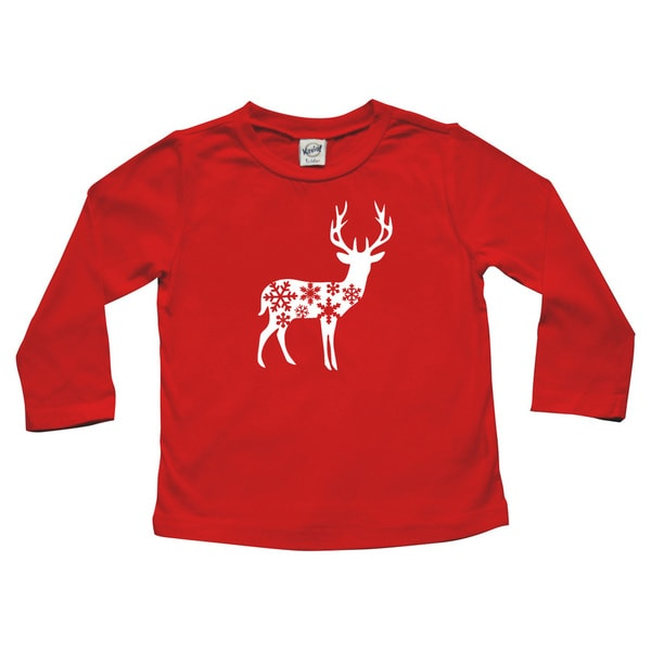 "Rocket Bug Holiday ""Deer with Snowflakes"" Baby Bodysuit and Toddler T-Shirt"