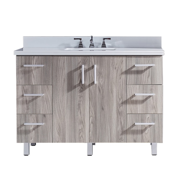 "48"" Bathroom Vanity with Phoenix White Artificial Marble Top in Grey Walnut WoodTexture Finish"