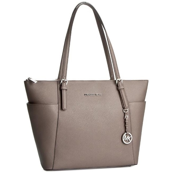 Michael Kors Jet Set Large Cinder Top-Zip Saffiano Leather Tote Bag