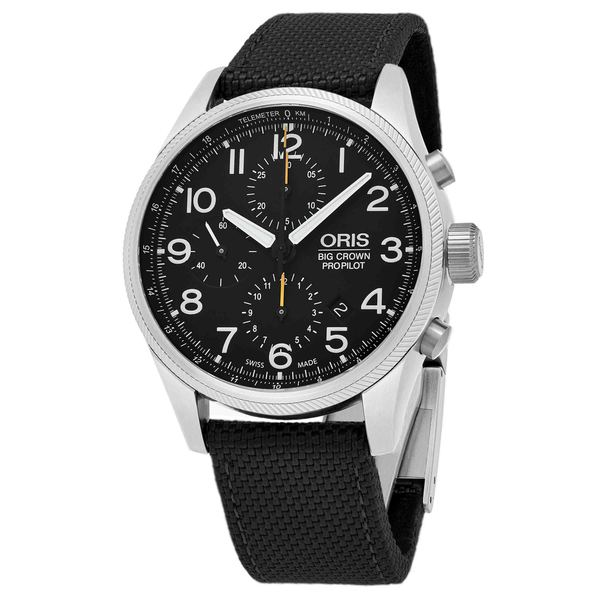 Oris Men's 774 7699 4134 LS 15 'Big Crown' Black Dial Black Fabric Strap ProPilot Chronograph Swiss Automatic Watch