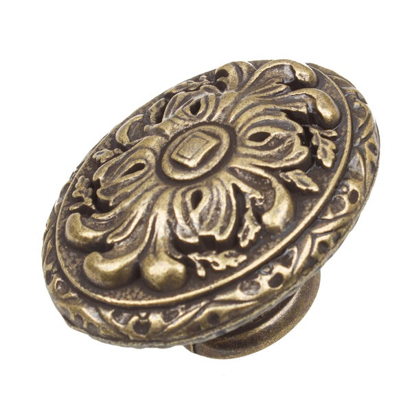 GlideRite 2-inch Old World Ornate Oval Antique Brass Cabinet Knobs (Pack of 10 or 25)