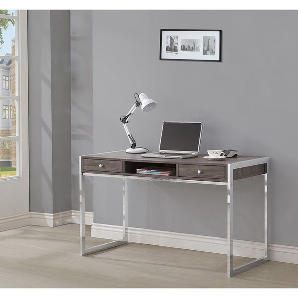 Lyke Home Brown Wood Metal Modern Computer Study Desk