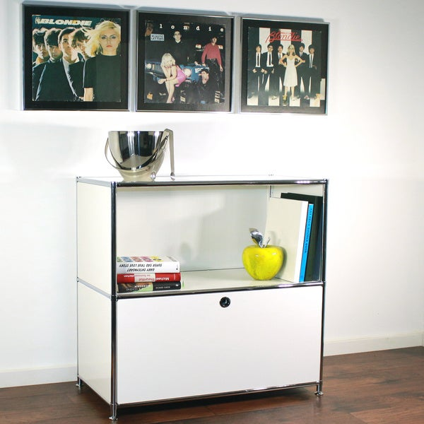 System4 White/Chrome Steel Soft-close Drawer Media Credenza