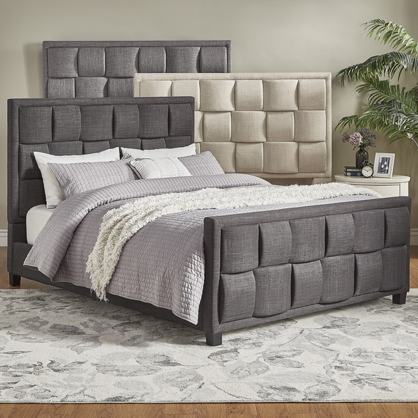 TRIBECCA HOME Porter Linen Woven Queen Upholstered Bed with Footboard