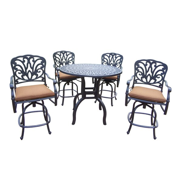 Sunbrella Aluminum 5 Pc Counter Height Bar Set complete with 42in Bar Table and 4 Swivel Bar Stools with Cushions