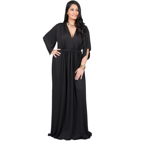 Adelyn and Vivian Women's Polyester/Spandex Plus-size Short Split-sleeve Empire-waist V-neck Long Maxi Dress