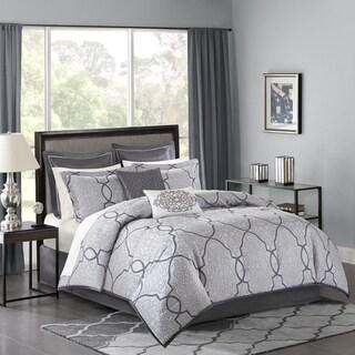 Madison Park Anuok Silver Jacquard 12 Piece Comforter Set