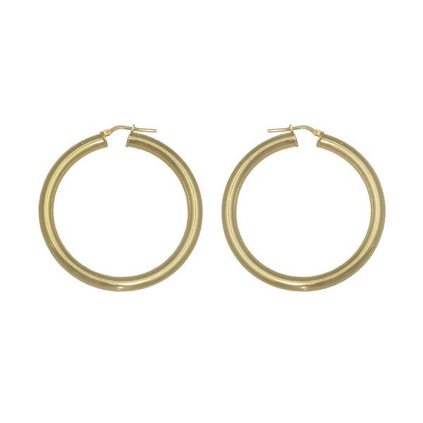 Isla Simone - 18 Karat Gold Electro Plated 4.5Mm X 50MM Round Polished Hoop Earring