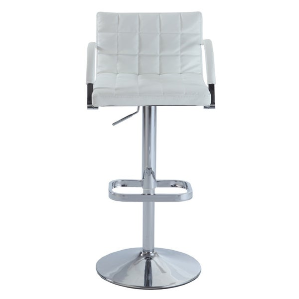 Christopher Knight Home White Chrome-finished Metal/PU Leather Quilted-Back Pneumatic Swivel Stool