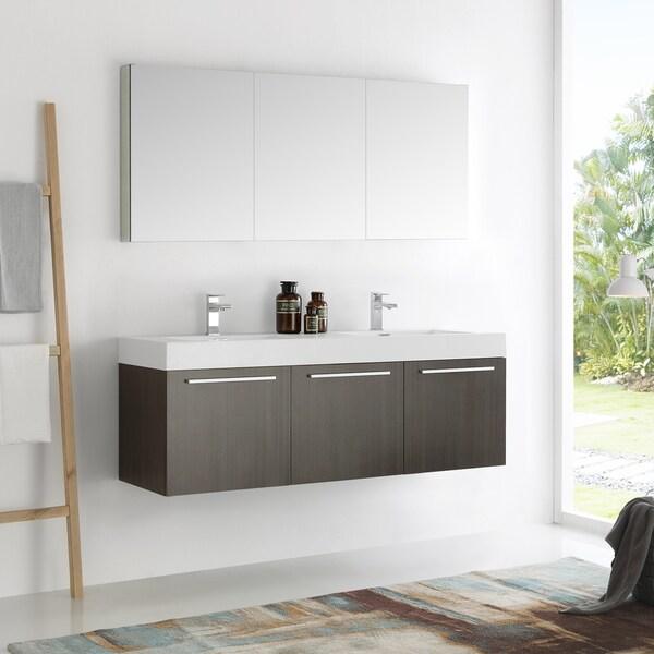 Fresca Vista Grey Oak 60-inch Wall-hung Double-sink Modern Bathroom Vanity with Medicine Cabinet