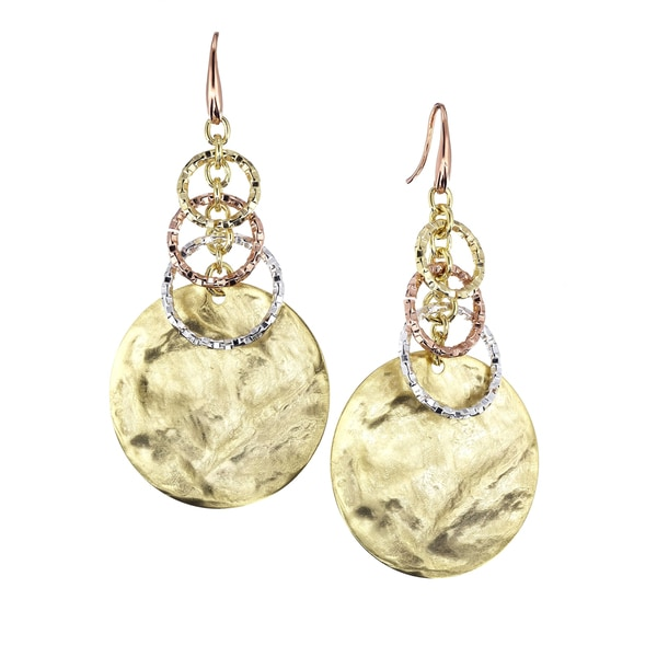 Isla Simone - 18 Karat Multi Plated Rustic Finish Circle Drop Earrings With Graduated Textured Links 21293211