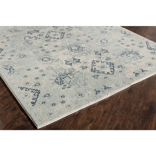 Mason Collection Benedict Blue/Ivory Polypropylene Power-loomed Rug (5'3 x 7'6)