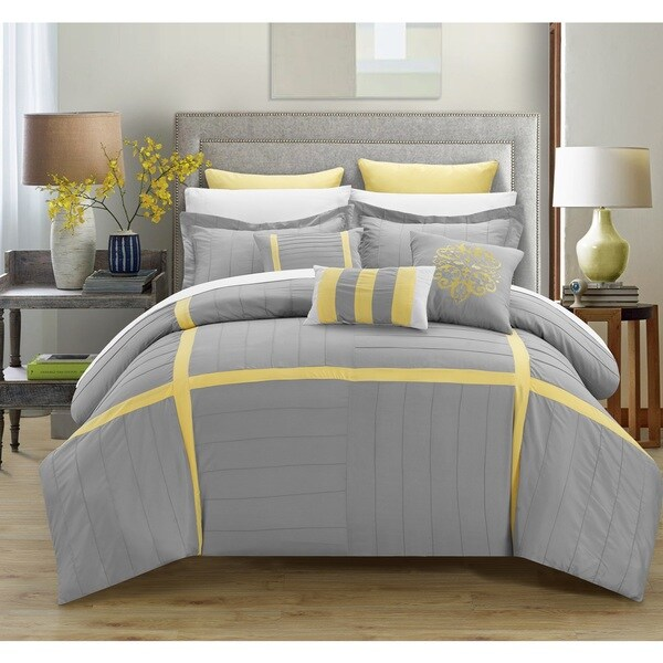 Chic Home Helena Grey Comforter 12-Piece set