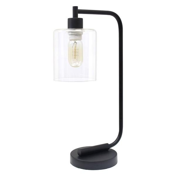 Simple Designs Bronson Black Iron Glass-shade Antique-style Industrial Lantern Desk Lamp