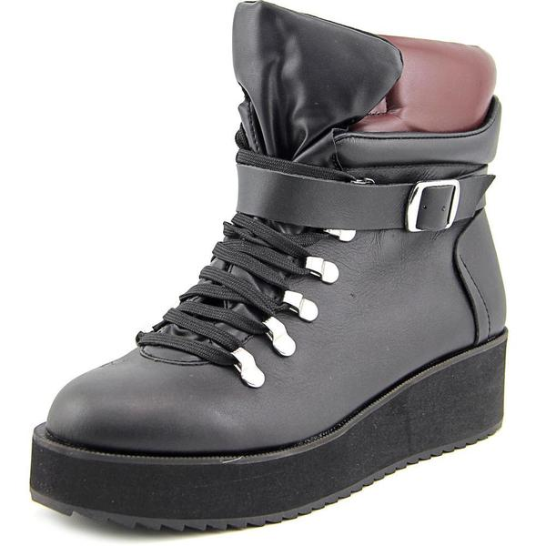 Steve Madden Women's 'Hiking' Black Leather Boots