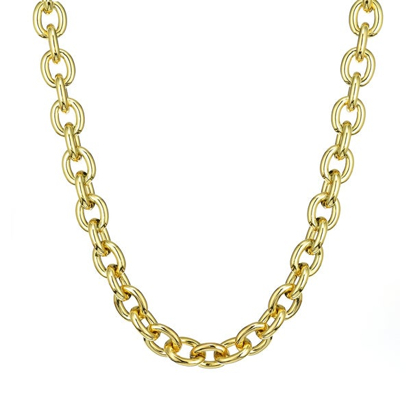 Isla Simone - 18 Karat Gold Plated Oval Anchor Link Chain Necklace With Toggle
