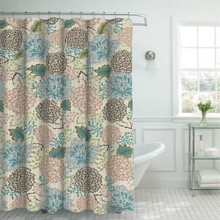 Creative Home Ideas Sonrie Berber Oxford Weave Shower Curtain with Metal Roller Hooks - multi