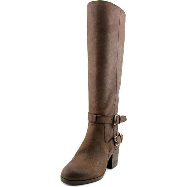 Steven Steve Madden Women's 'Olyvvya' Brown Leather/Manmade Material Knee-high Mid-heel Boots