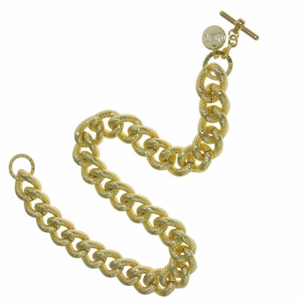 Isla Simone - 18 Karat Gold Plated Textured Twisted Link Necklace