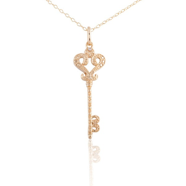 Sterling Silver Gold Plated Diamond Accent Key Pendant Necklace