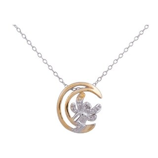 Two-tone Sterling Silver Yellow Gold-plated Diamond Accent 18-inch Fairy on Moon Pendant Necklace