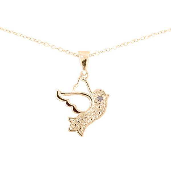 Sterling Silver Diamond Accent 18-inch Dove Bird Pendant Necklace