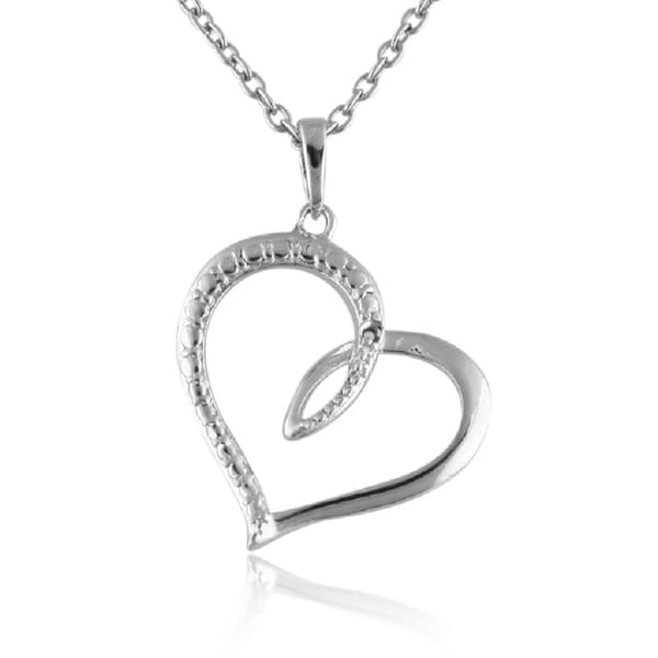 Sterling Silver Diamond Accent 18-inch Twisted Heart Pendant Necklace
