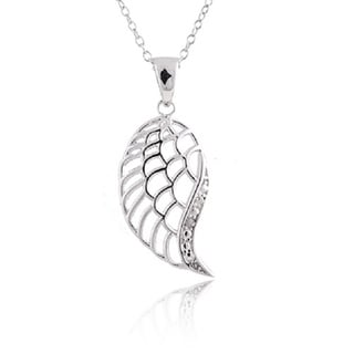 Sterling Silver Diamond Accent 18-inch Angel Wing Pendant Necklace