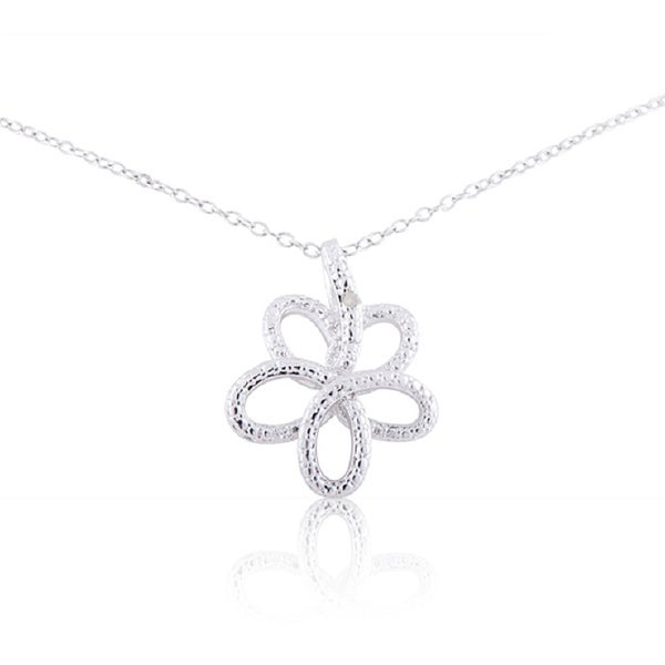 Sterling Silver Diamond Accent 18-inch Open Flower Pendant Necklace
