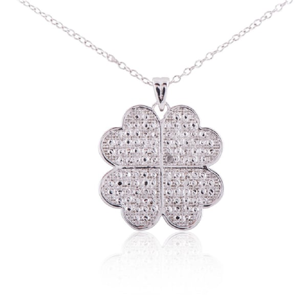 White Sterling Silver Diamond Accent Four Leaf Clover Pendant Necklace