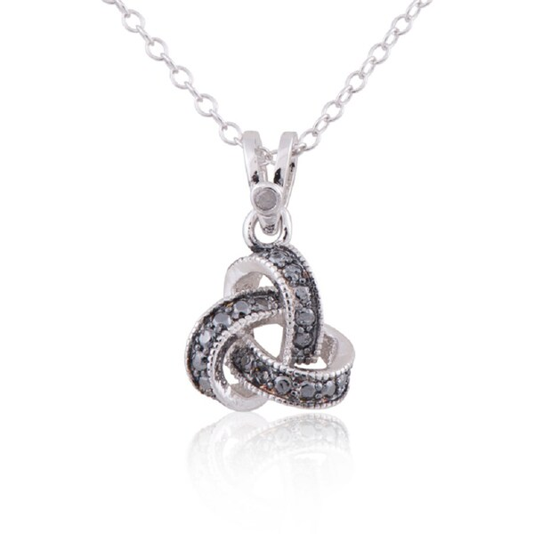 Rhodium-plated Sterling Silver Diamond Accent Love Knot Pendant on 18-inch Necklace