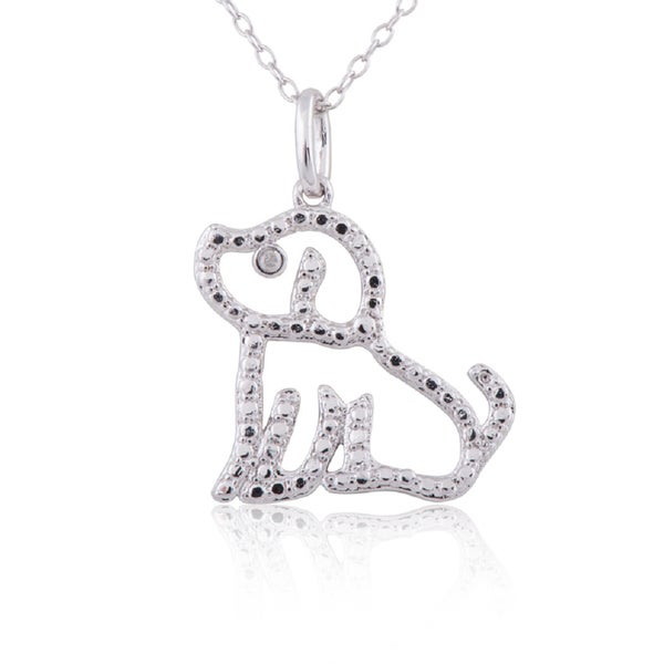 Sterling Silver Diamond Accent 18-inch Dog Pendant Necklace
