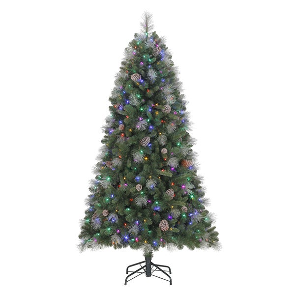 Quick Set Sheridan Glitter Pine Pre-Lit, Dual LED-lit 6.5 ft. Artificial Christmas Tree