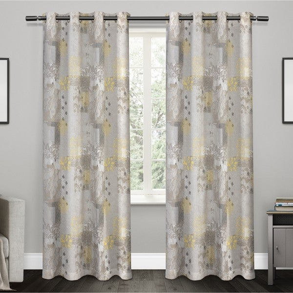 ATI Home Patchwork Floral Print 100-percent Cotton Grommet-top Window Curtain Panel Pair