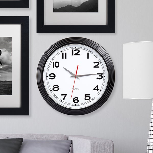 Everyday Home 15 Inch Retro Style Wall Clock - Black