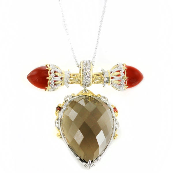 One-of-a-kind Michael Valitutti Smokey Quartz with Carnelian and Orange Sapphire Pendant