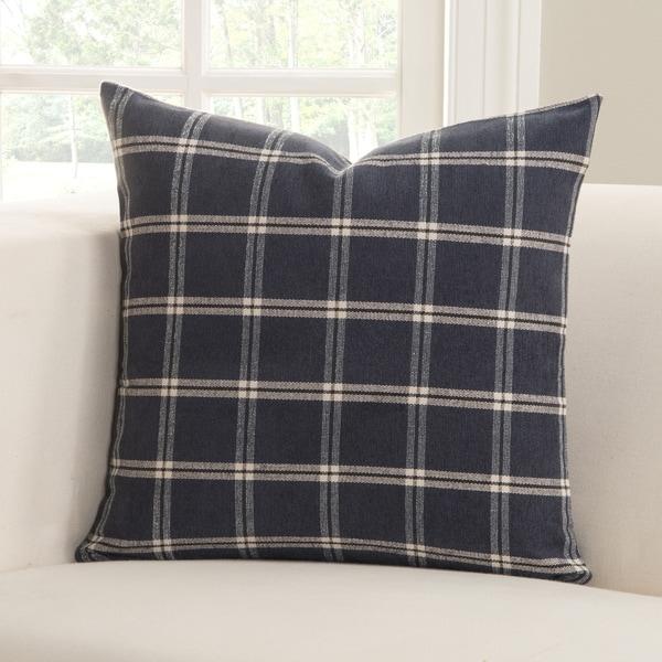 Tartan Indigo White and Blue Polyester Accent Pillow