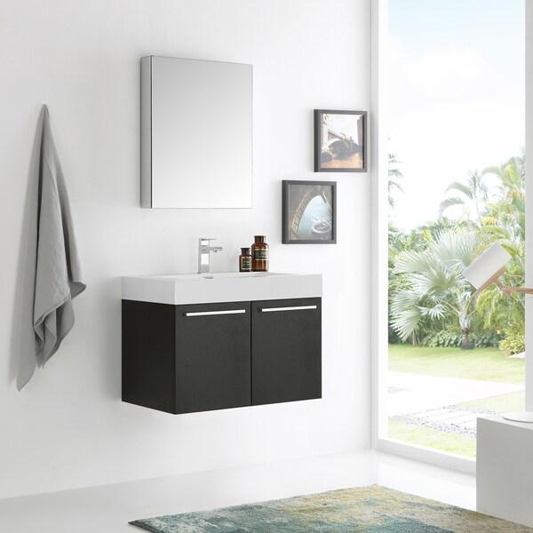 Fresca Vista 30-inch Black Wall-hung Modern Bathroom Vanity w/ Medicine Cabinet 21295798