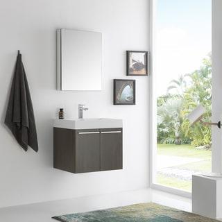 Fresca Alto Grey Oak 23-inch Wall-hung Modern Bathroom Vanity with Medicine Cabinet