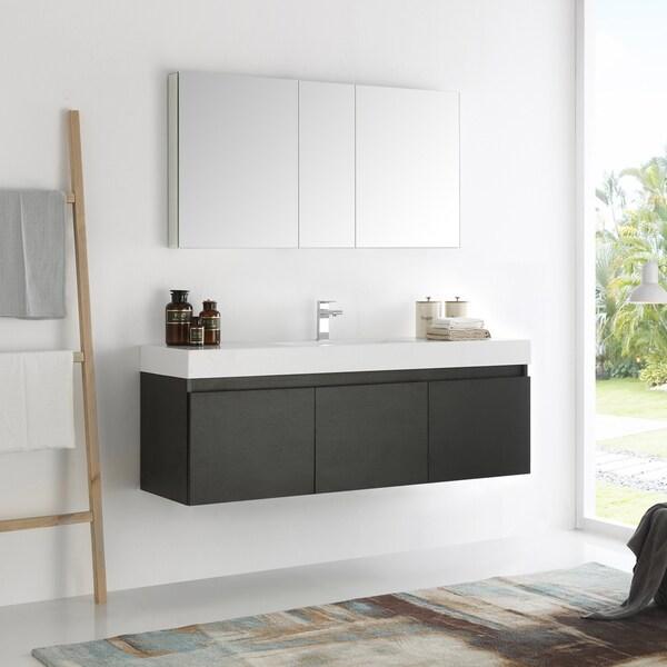 Fresca Mezzo Black 60-inch Wall Hung Single Sink Modern Bathroom Vanity with Medicine Cabinet