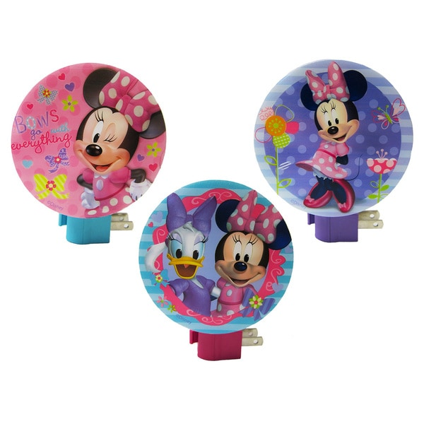 Disney Minnie Mouse Plastic Wall Night Lights (Pack of 3)