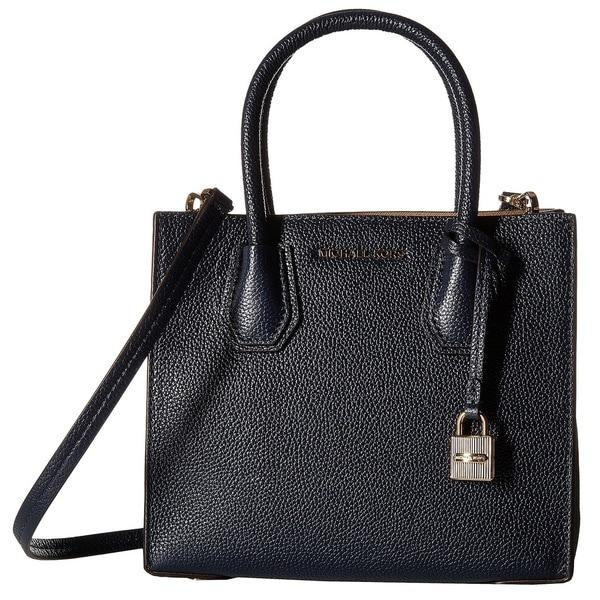 Michael Kors Bonded Mercer Admiral Blue Pebble Medium Crossbody Handbag