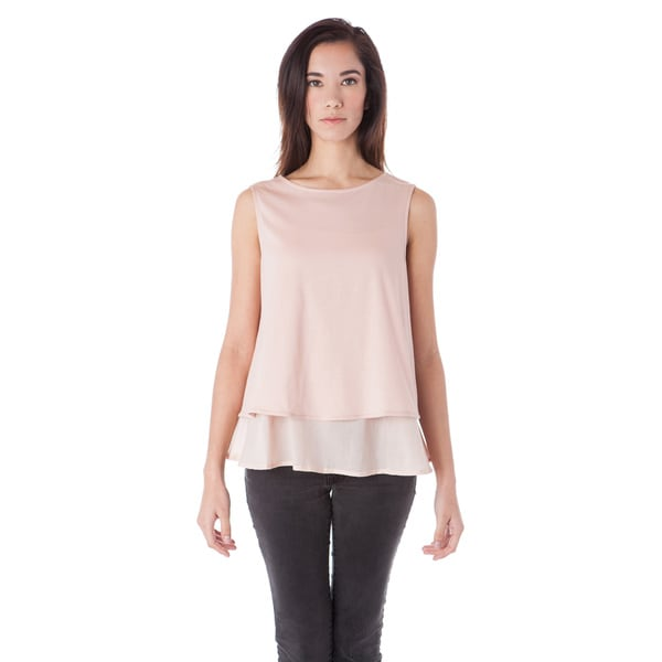 AtoZ Women's Women's Pink Cotton 2-layered Loose Top