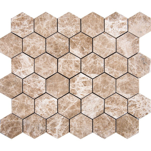 Cedar Emperador Brown Marble 2-inch Hexagon Mosaic Tiles