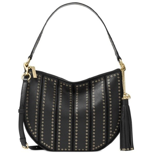 Michael Kors Brooklyn Grommet Black Appliqu Medium Convertible Hobo Handbag