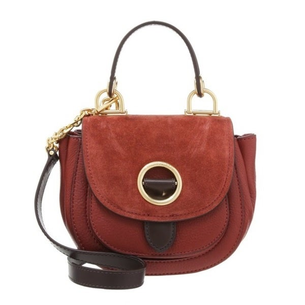 Michael Kors Isadore Brick Medium Suede Saddle Handbag