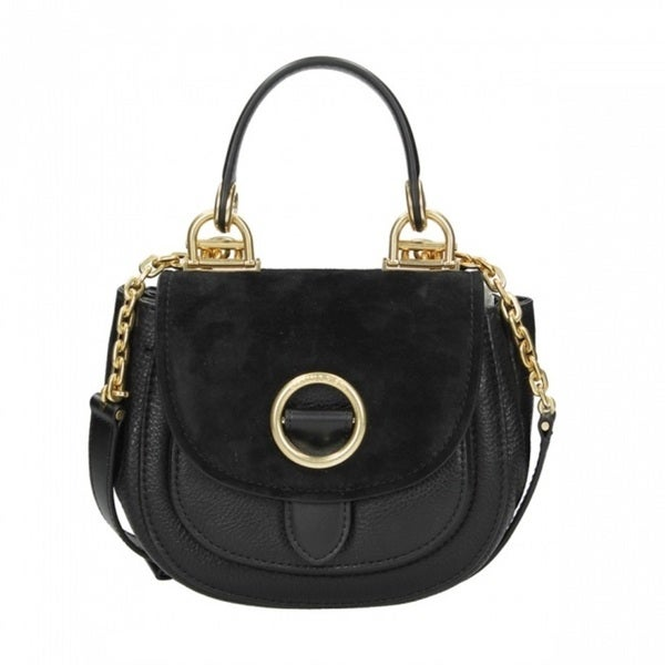 Michael Kors Isadore Black Medium Suede Saddle Handbag