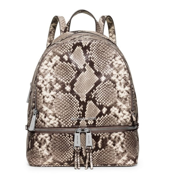 Michael Kors Rhea Natural/ Snake Print Zip Medium Backpack